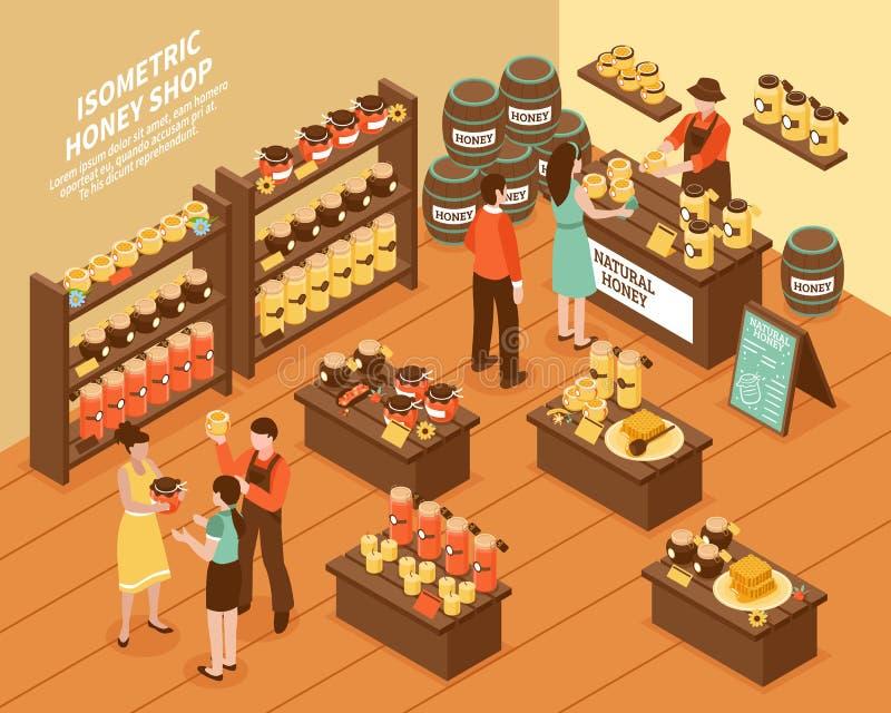 Miodu gospodarstwa rolnego sklepu Isometric plakat royalty ilustracja