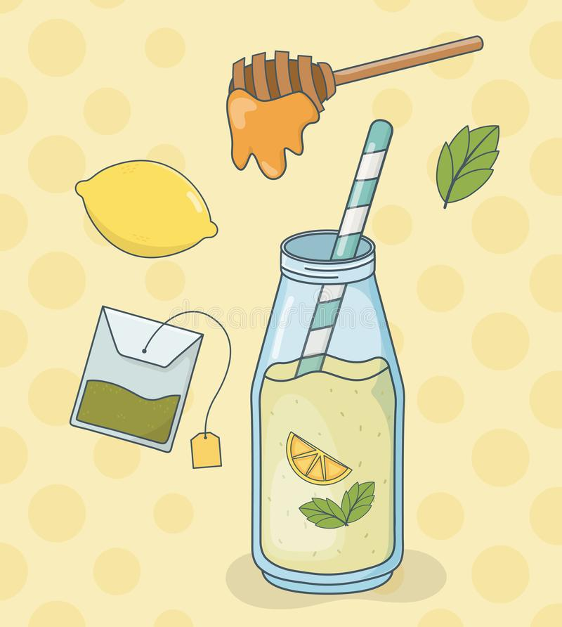 Miodu i cytryny herbaciana butelka z słomą ilustracji