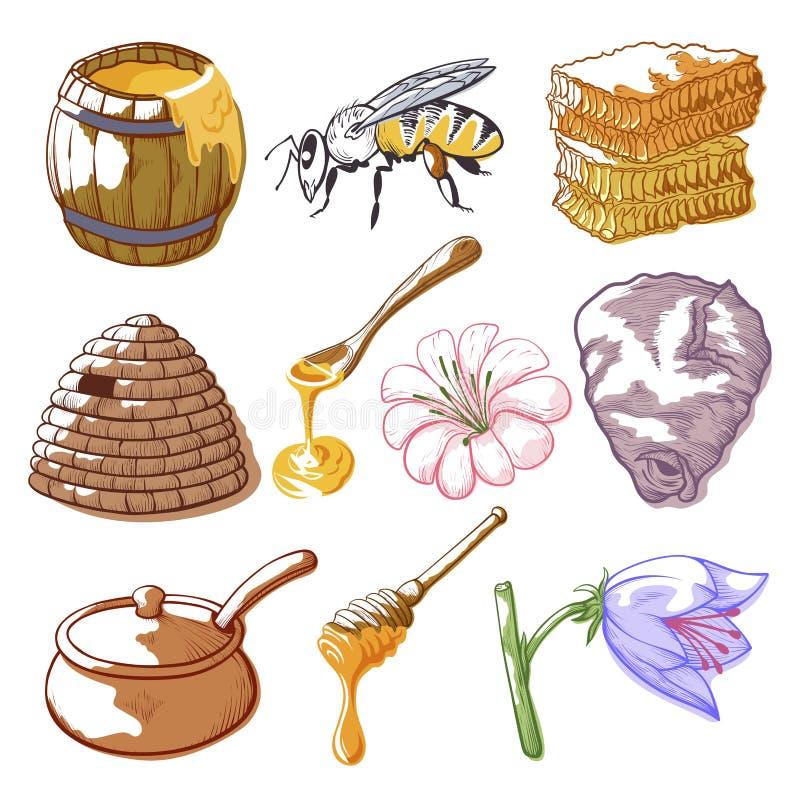 Miodu i pszczoły nakreślenie ilustracji
