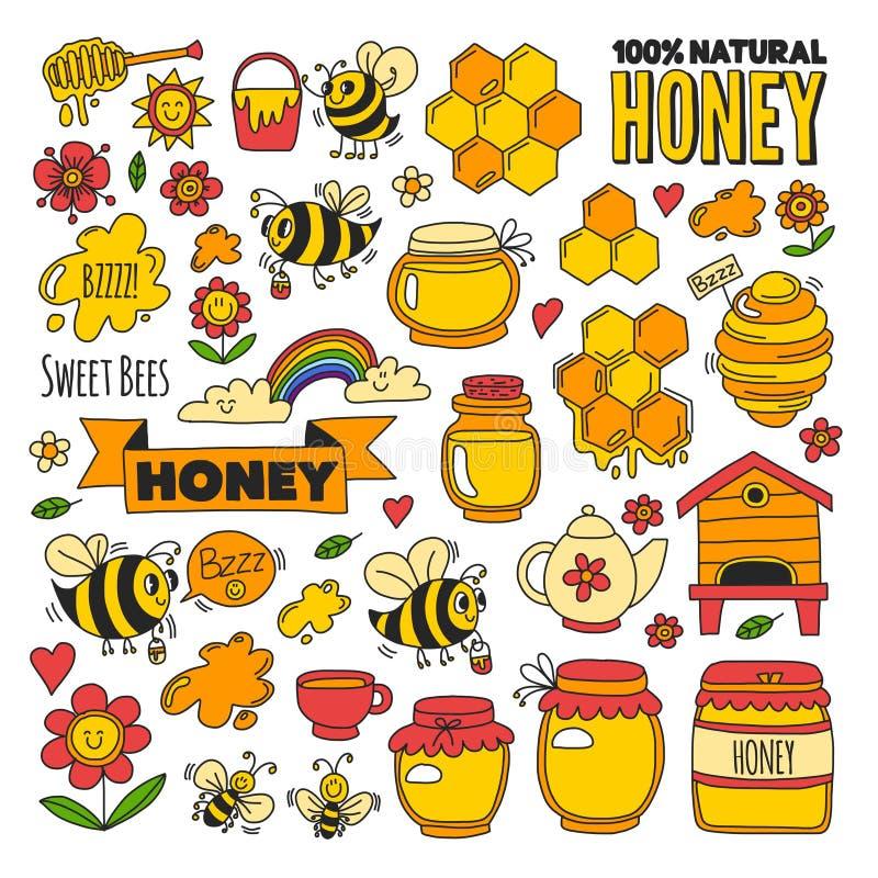Miodu rynek, bazar, miodowi uczciwi Doodle wizerunki pszczoły ilustracja wektor