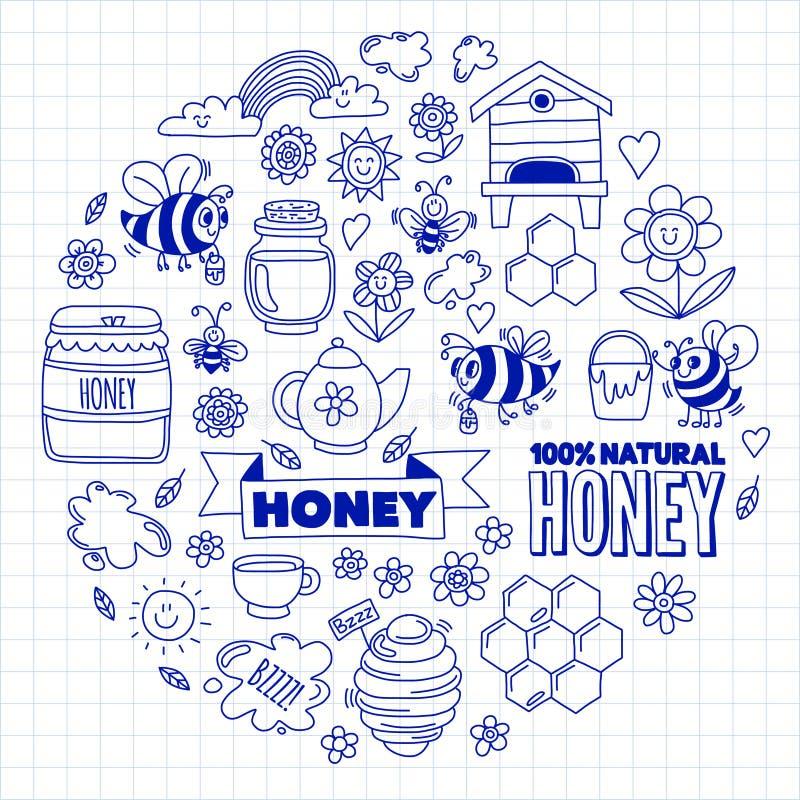 Miodu rynek, bazar, miodowi uczciwi Doodle wizerunki pszczoły, kwiaty, słoje, honeycomb, ul, punkt baryłka z literowaniem ilustracja wektor