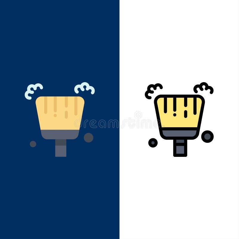 Miotła, śmietniczka, zakres ikony Mieszkanie i linia Wypełniający ikony Ustalony Wektorowy Błękitny tło ilustracja wektor