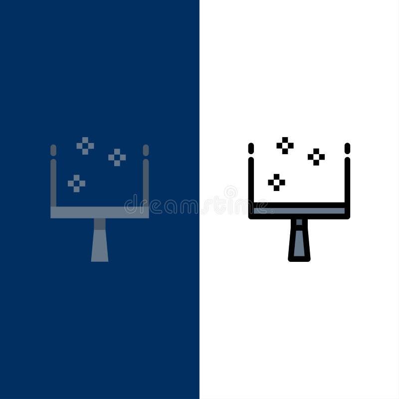 Miotła, śmietniczka, zakres ikony Mieszkanie i linia Wypełniający ikony Ustalony Wektorowy Błękitny tło royalty ilustracja