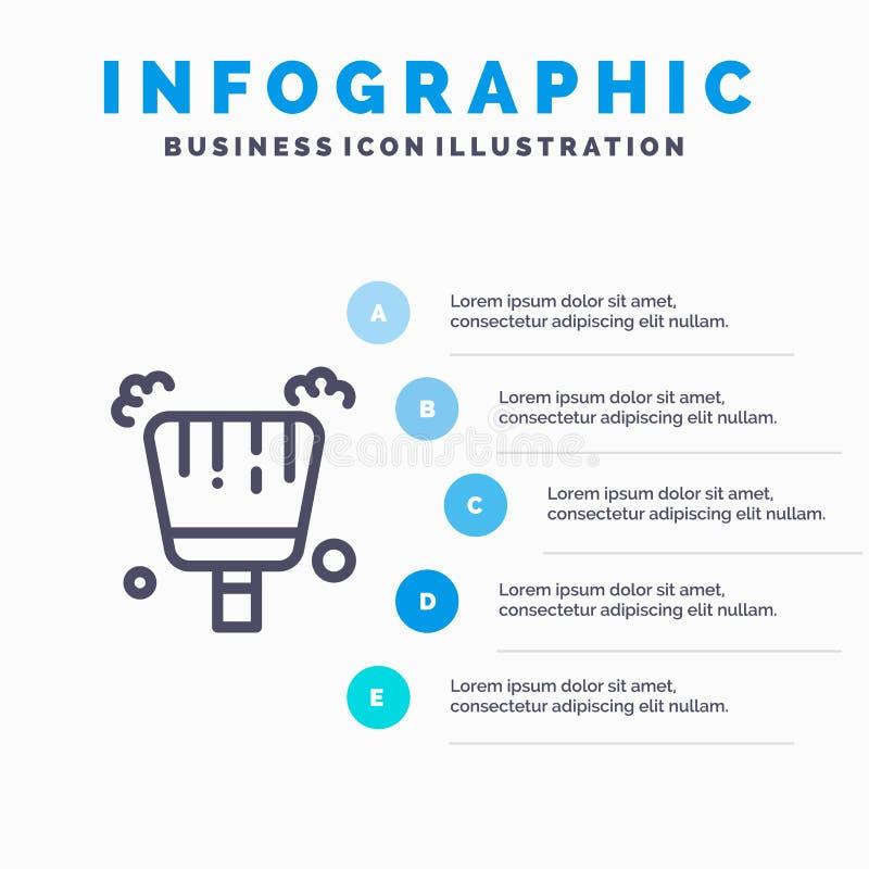 Miotła, śmietniczka, zakres Kreskowa ikona z 5 kroków prezentacji infographics tłem royalty ilustracja