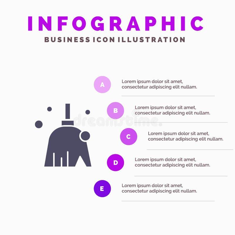 Miotła Czyści, Czysty, zakres ikony Infographics 5 kroków prezentacji Stały tło royalty ilustracja