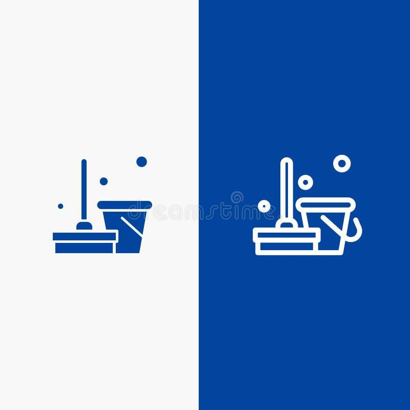 Miotły, Czystej, Czyścić, zakres linii i glifu Stałej ikony sztandaru glifu, Błękitnej ikony błękita Stały sztandar royalty ilustracja