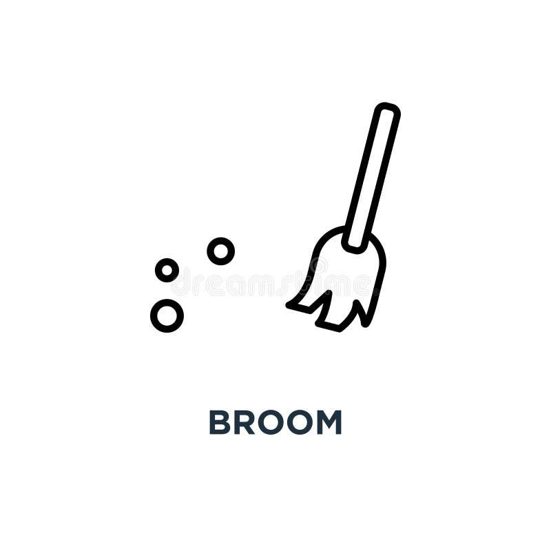 Miotły ikona Liniowa prosta element ilustracja Ogólna miotła c ilustracji