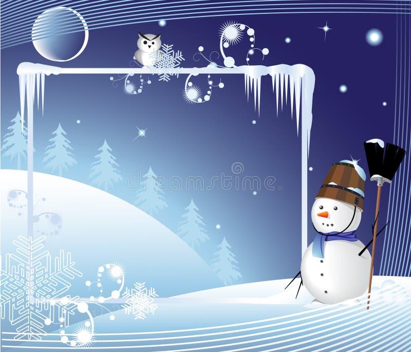 miotły mężczyzna wesoło śnieg royalty ilustracja
