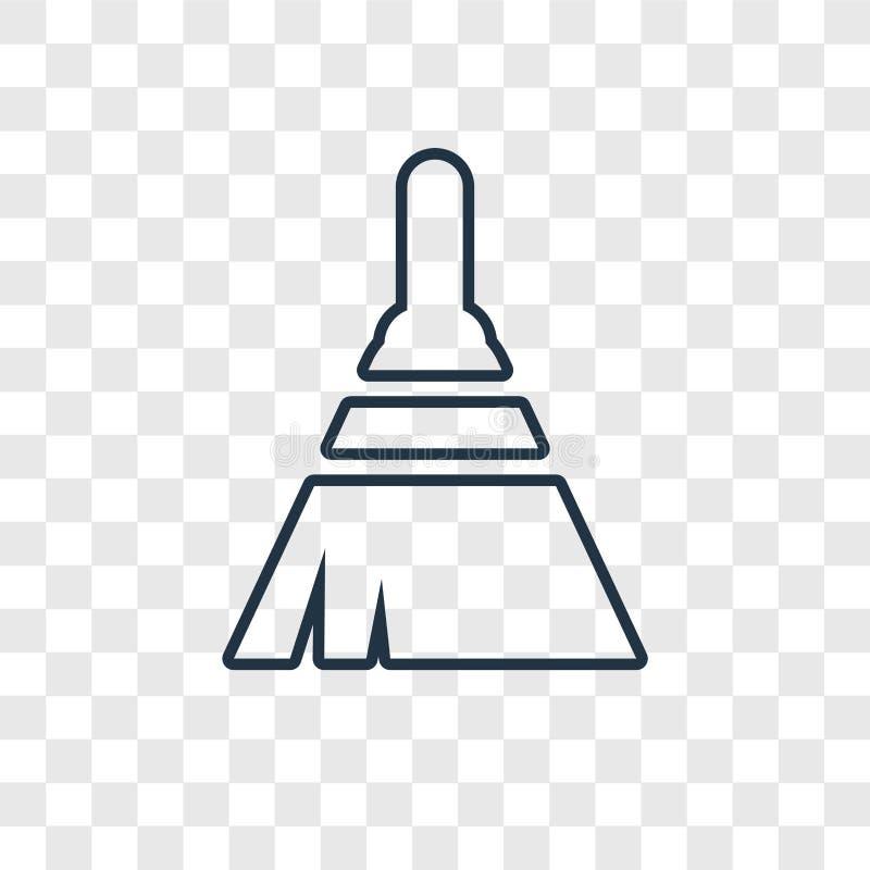 Miotły pojęcia wektorowa liniowa ikona odizolowywająca na przejrzystym backgro royalty ilustracja