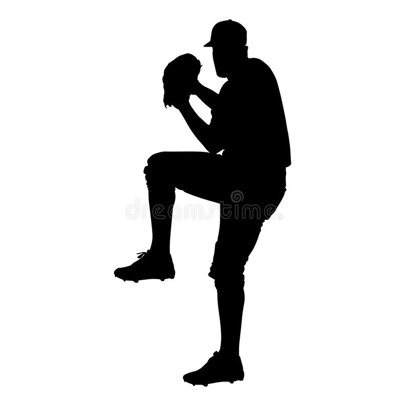 Miotacz, gracza baseballa wektoru sylwetka royalty ilustracja