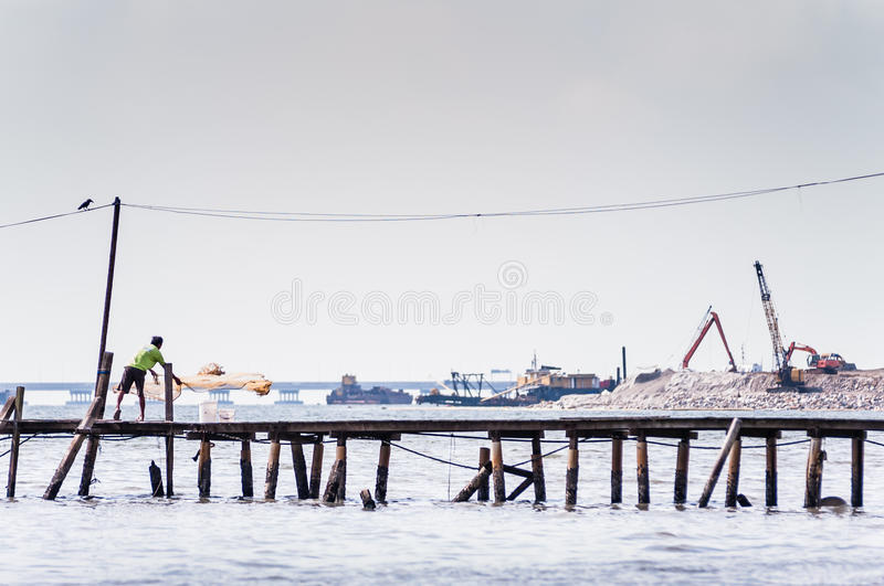 Miotanie sieć rybacka zdjęcia royalty free
