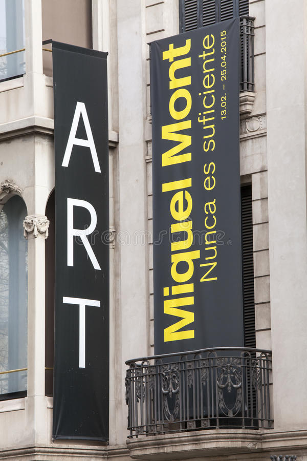 Miquel Mont, art exhibition. Barcelona, Spain. 2015. Banners of the art exhibition Miquel Mont in Barcelona, Spain. The banners are posted in the historic royalty free stock photography