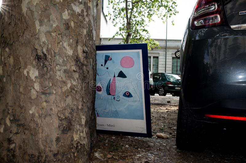 Mirò. Stamp of Mirò in the street, milano, Italy royalty free stock photography
