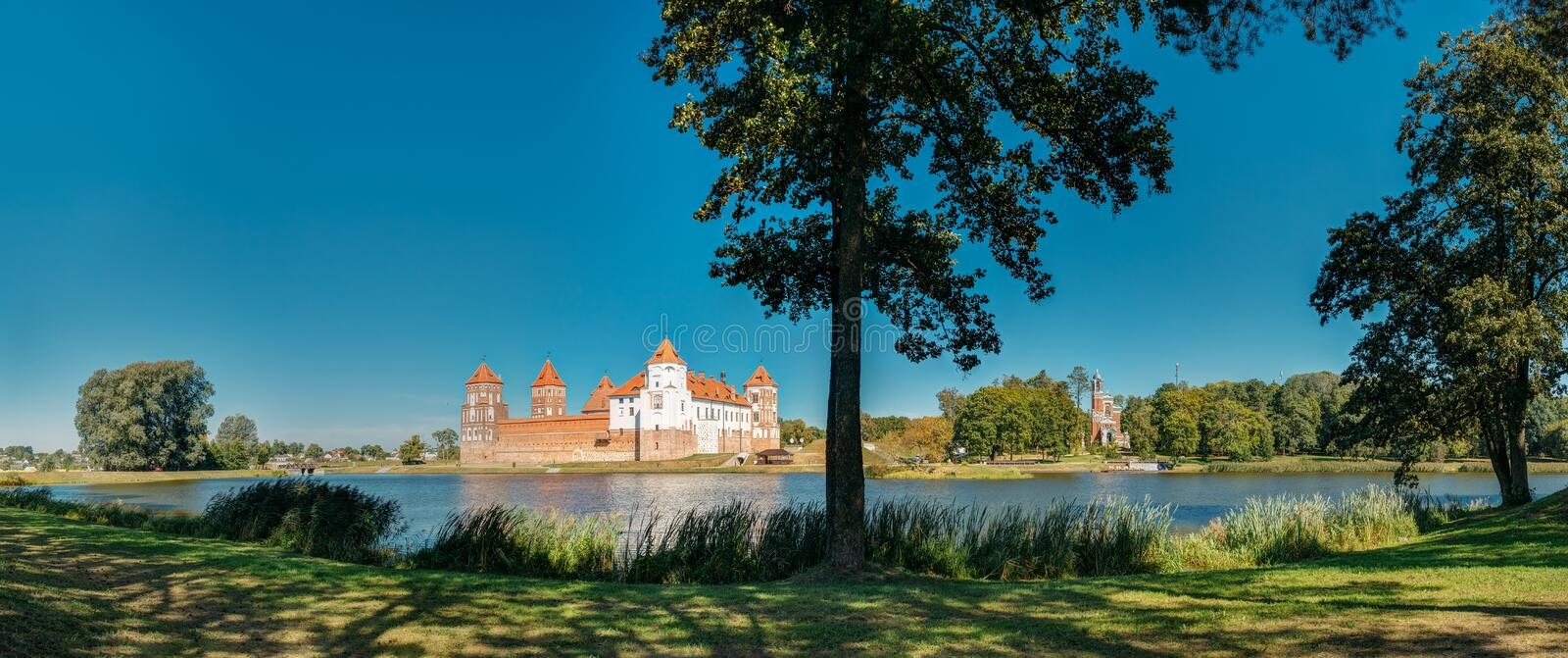 Mir Belarus. Picturesque Panoramic View Of Mir Castle Complex Fr royalty free stock image
