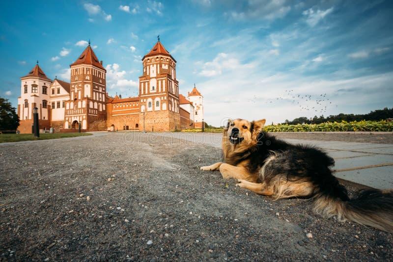 Mir, Białoruś Mir kasztelu kompleks Na Błękitnym Pogodnym zmierzchu niebie Backgr obraz royalty free