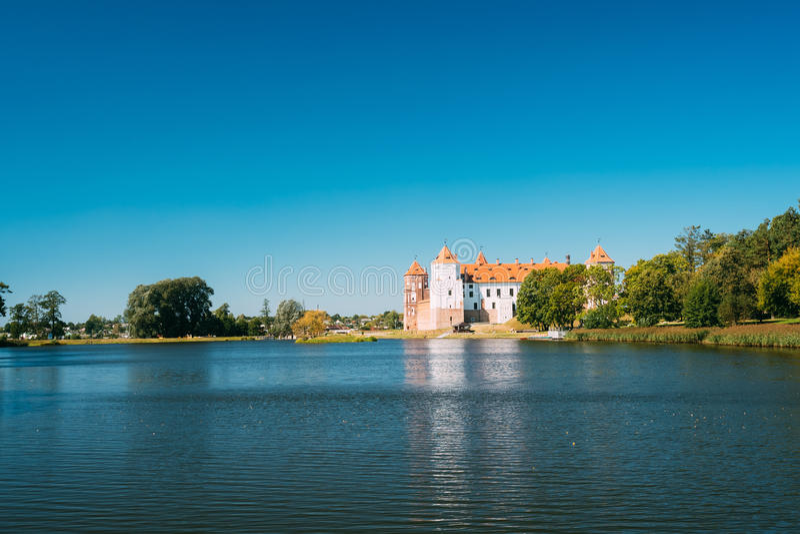 Mir, Białoruś Widok Mir kasztelu kompleks, Antyczny zabytek, Unesco dziedzictwo obraz stock