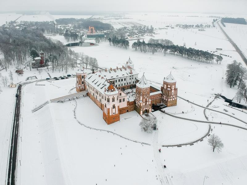 Mir Castle in Belarus. Winter. Drone photo royalty free stock photography