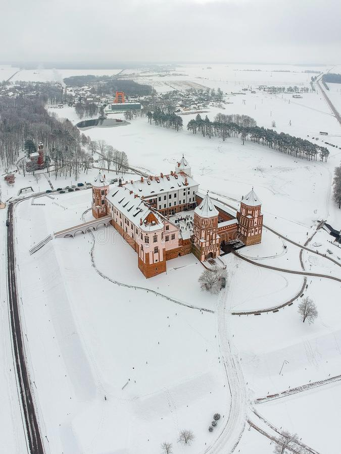 Mir Castle in Belarus. Winter. Drone photo royalty free stock image