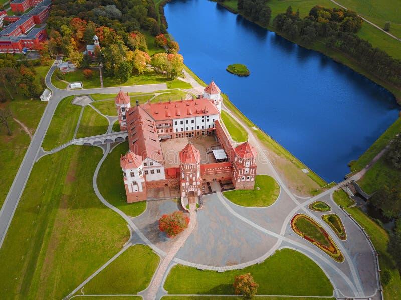 Mir Castle Complex, Belarus, Europe. Aerial view. Of famous belarusian medieval castle. Historic building in autumn. Symbol of belorussian architecture stock photos