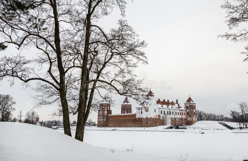 Mir Castle Invierno fotografía de archivo libre de regalías