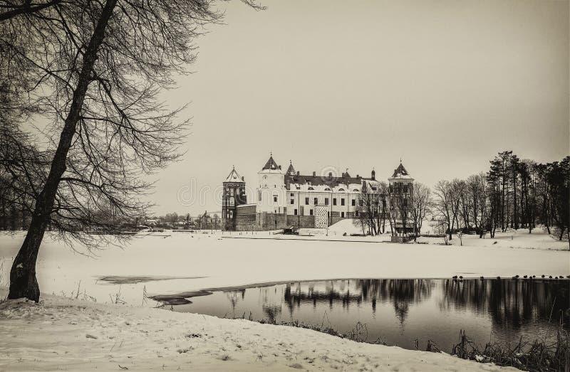 Mir Castle Vinter royaltyfri bild