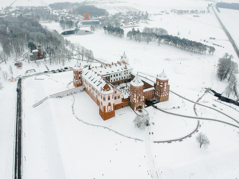 Mir kasztel w Białoruś Zima Truteń fotografia obrazy royalty free