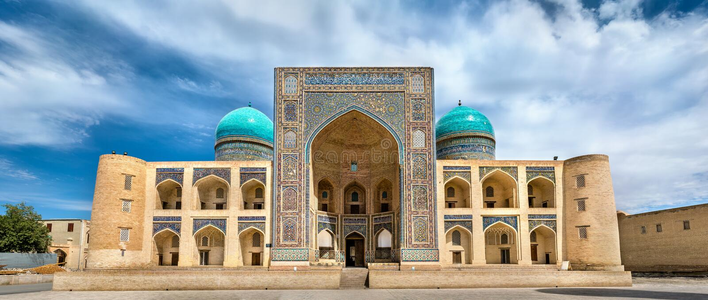 Mir Madrasa przy Poi Kalyan kompleksem w Bukhara arab, Uzbekistan zdjęcia stock