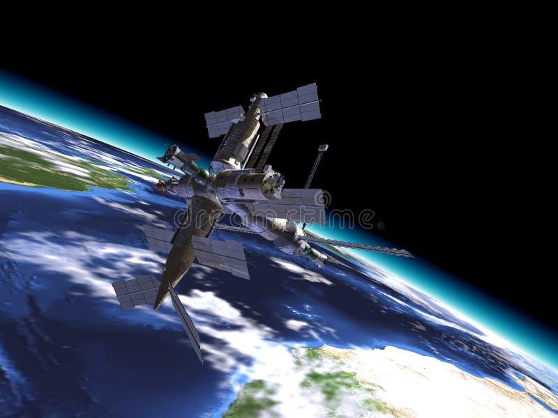 Mir Russian Space Station, in orbita sulla terra. royalty illustrazione gratis