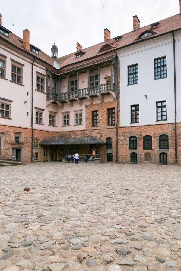Mir VITRYSSLAND - Maj 20, 2017: Mir Castle i den Minsk regionen - historiskt arv av Vitryssland Unesco-världsarv Resa på Bela arkivbilder