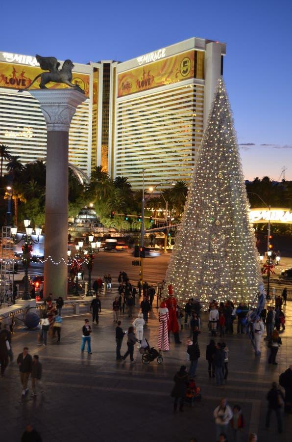 Mirażowy kasyno i Wenecki, obszar miejski, miasto, oświetlenie, noc obraz stock