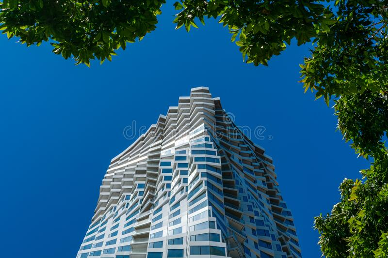 MIRA - 39-story, 422-foot urban residential skyscraper. With a rippled facade design in the heart of downtown, 160 Folsom Street - San Francisco, California royalty free stock photo