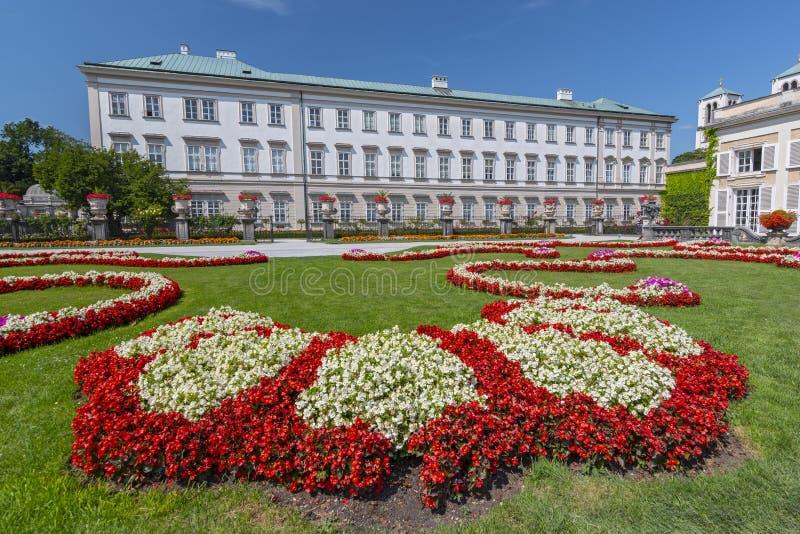 Mirabell庭院和米拉贝尔宫,萨尔茨堡奥地利 图库摄影