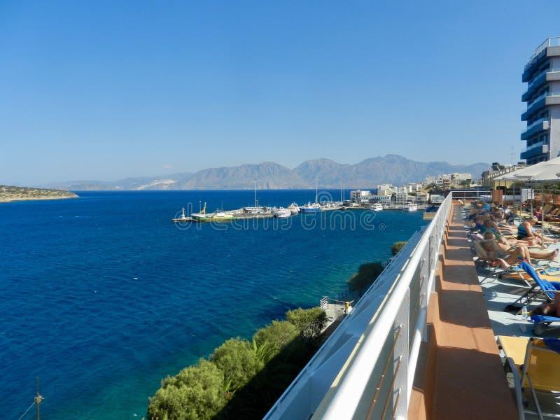 Mirabello bay in Agios Nikolaos, Crete royalty free stock images