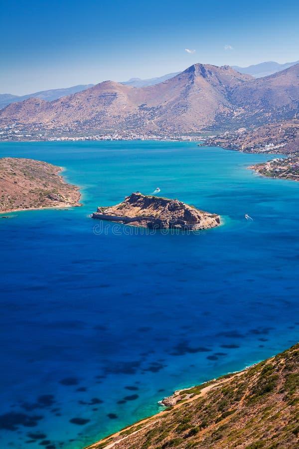 Mirabello Bay With Spinalonga Island On Crete Stock Image