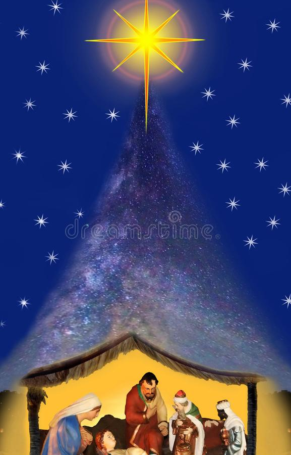 Free Miracle Christmas Night, Nativity Scene. Royalty Free Stock Photo - 103850235