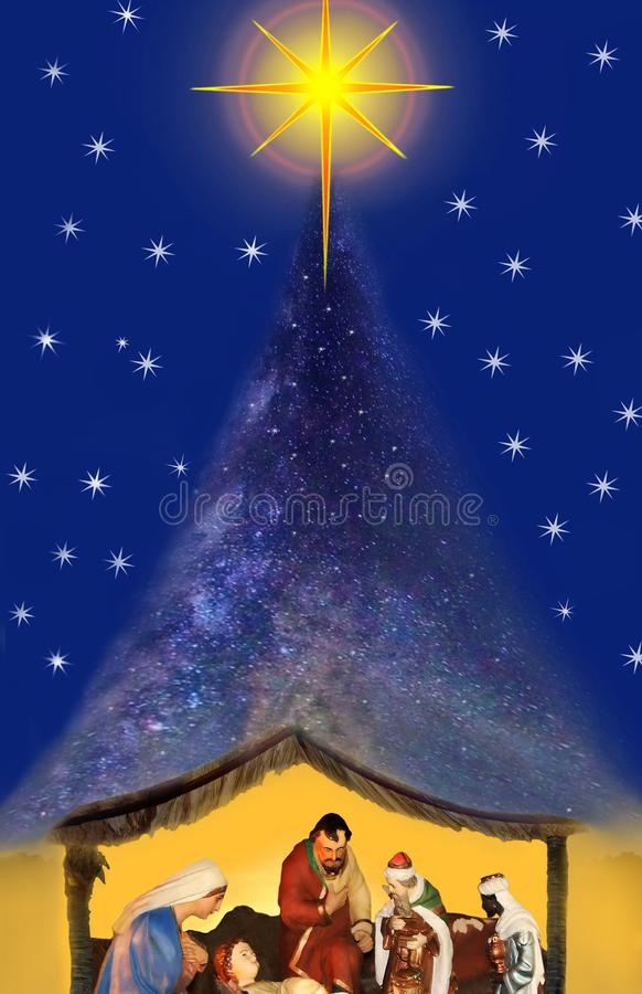 Miracle christmas night, nativity scene. The miracle of Christmas night. The bright Bethlehem star is on the top of beautiful starry sky. The Galaxy as the stock illustration