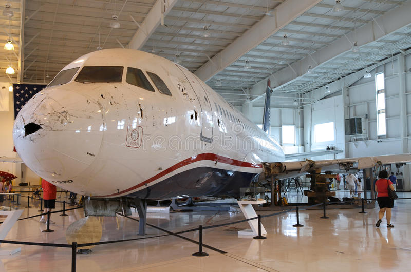 Miracle on the Hudson, Flight 1549, in Charlotte. The Miracle on the Hudson aircraft, Flight 1549, on permanent display at the Carolinas Aviation Museum royalty free stock image