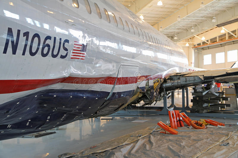 Miracle on the Hudson, Flight 1549, in Charlotte. The Miracle on the Hudson aircraft, Flight 1549, on permanent display at the Carolinas Aviation Museum royalty free stock photo