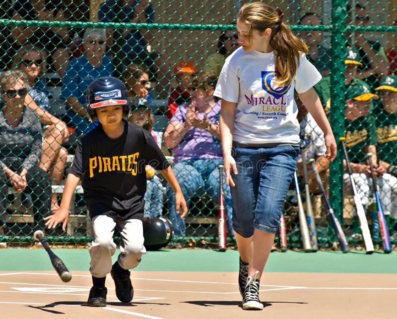 Miracle League Softball for Handicapped Children stock photos