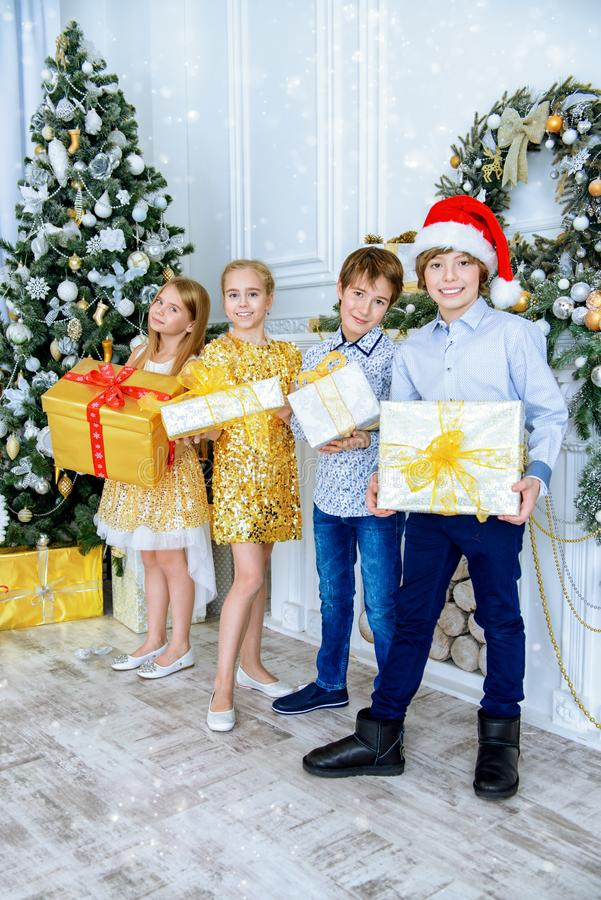 Miracle time with presents royalty free stock photo