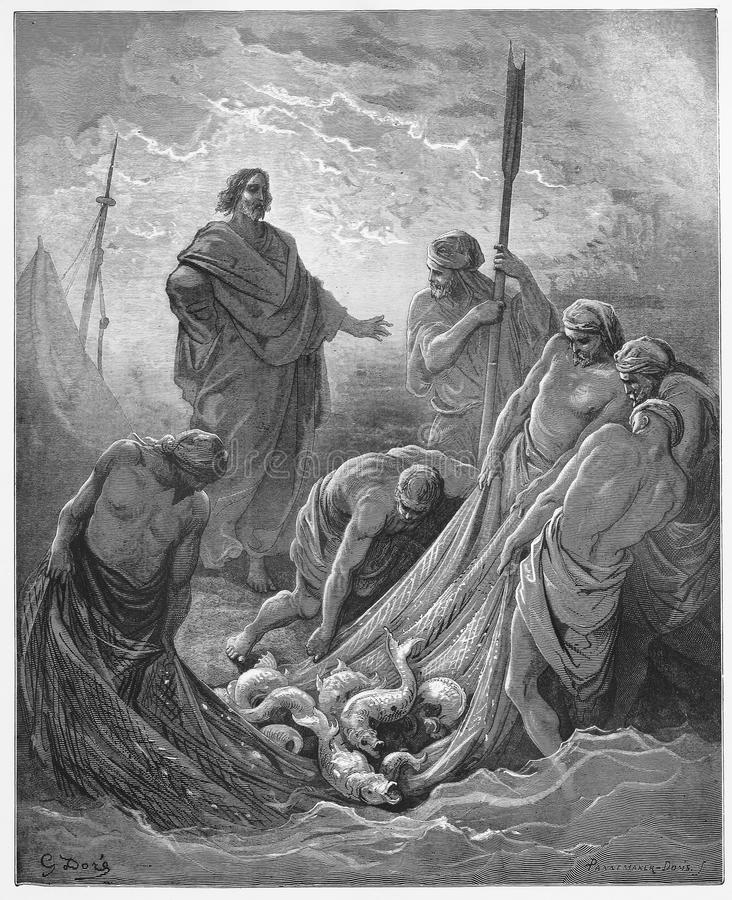 The Miraculous Catch of Fish. Picture from The Holy Scriptures, Old and New Testaments books collection published in 1885, Stuttgart-Germany. Drawings by stock illustration