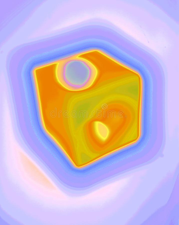 Miraculous Dice Abstracted. Unconventional Experimental Surreal Inventive abstract artwork generated by computer, miraculous enigmatic forms and curves Could be vector illustration