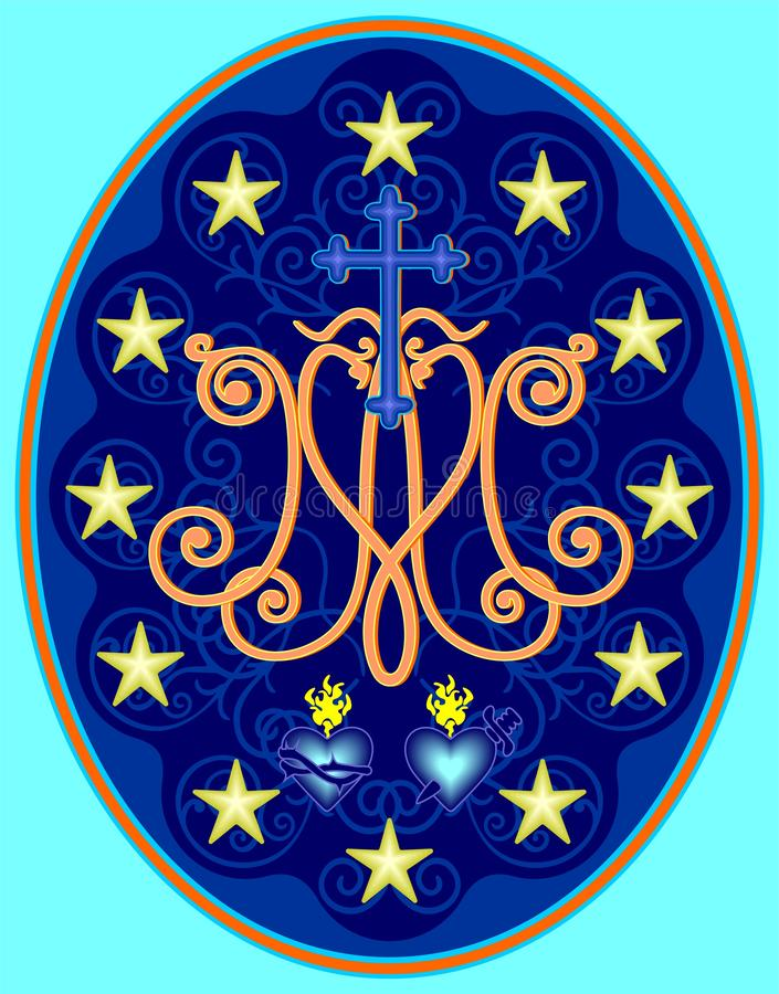 Miraculous medal of Our Lady, monogram M with symbols of hearts, surrounded by stars vector illustration