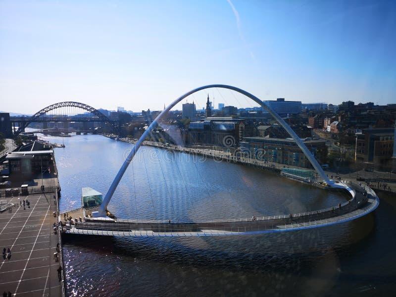 Mirada abajo del río Tyne que admite la vista de los puentes y de los edificios foto de archivo