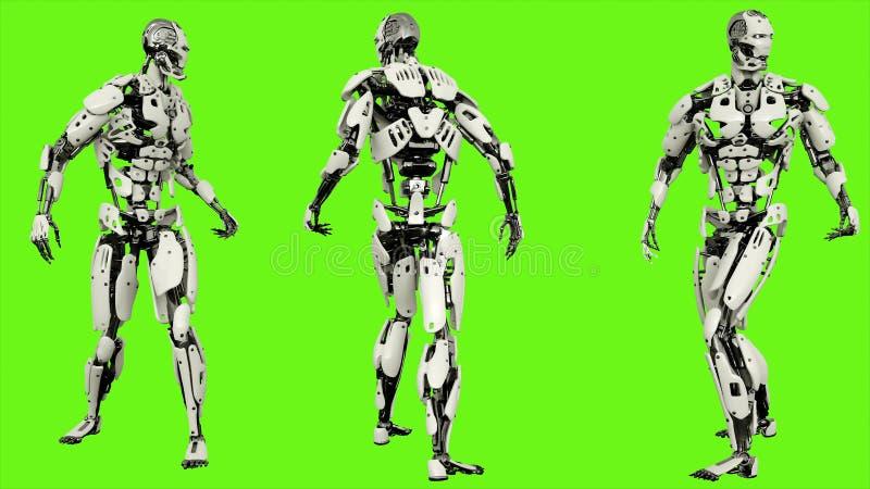 Mirada androide del robot detrás Movimiento realista en la pantalla verde representación 3d ilustración del vector