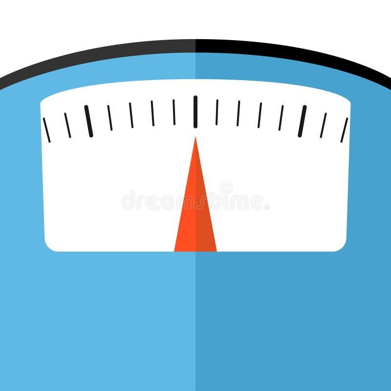 Mirada cercana de la escala del peso del piso del cuarto de baño completamente ilustración del vector