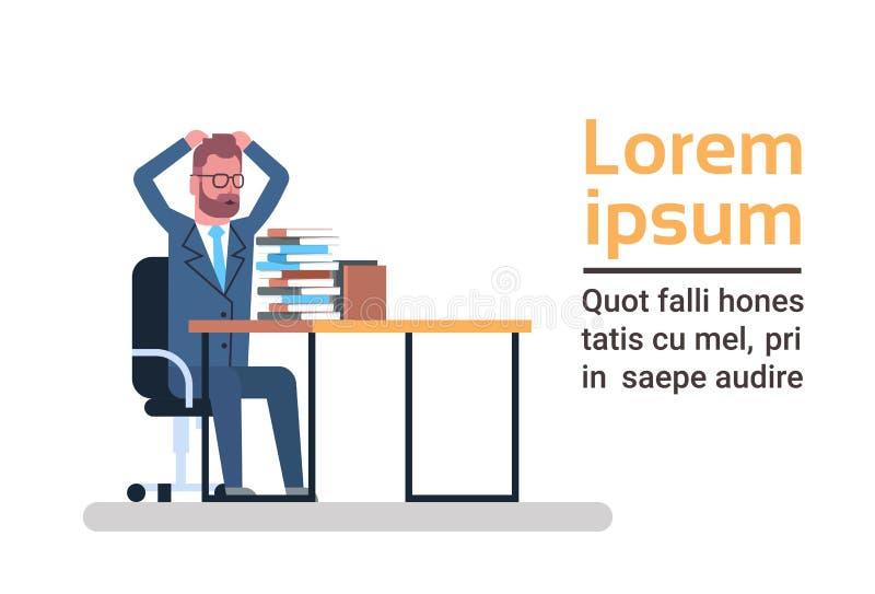 Mirada confusa del hombre de negocios en la pila de hombre de negocios sobrecargado y cansado Paperwork Concept de la cabeza de l ilustración del vector