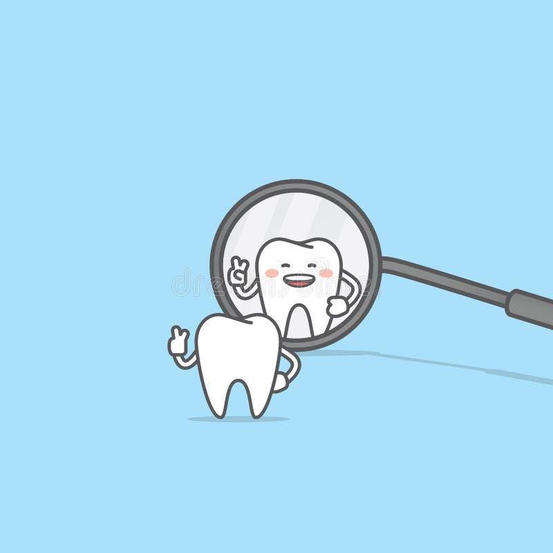 Mirada del carácter del diente en el vector dental del ejemplo del espejo encendido libre illustration