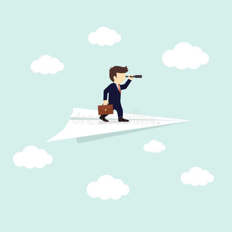 Mirada del hombre de negocios a través de un telescopio en el aeroplano de papel Ilustraci?n del vector ilustración del vector