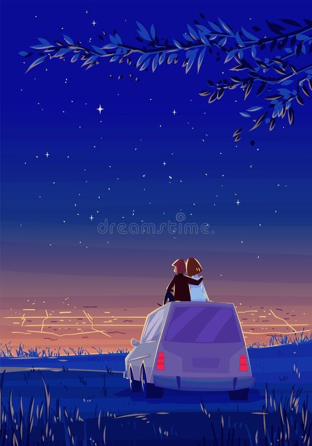 Mirada del muchacho y de la muchacha sobre la ciudad Noche romántica libre illustration